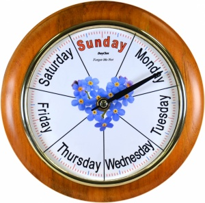 Maine Forget-Me-Not - Quality 8'' Cherry Wood Surround Day Clock