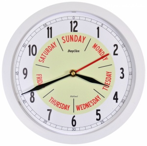 Midland Time and Day Clock - Grey, White or Silver Frame