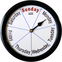 ''Cambridge'' - 9'' Black or White Frame Day Clock available in Various Languages