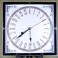 11'' Glass Square 24 hour Quartz Clock