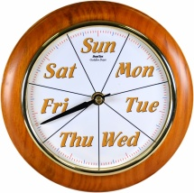 Maine Golden Days - Quality 8'' Cherry Wood Surround Day Clock[1]