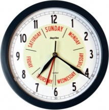 ''Midland'' Time and Day Clock - in 10'' Grey, White or Silver Frame