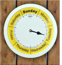 ''Sunflower'' 10''- White, Silver, Grey Frame Day Clock