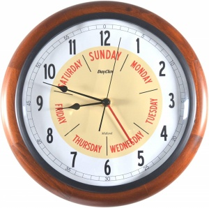 12'' Walnut wood Midland Time & Day Clock