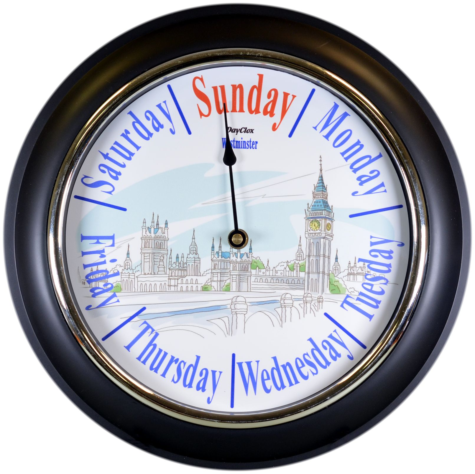 ''Westminster'' - 12.5'' Chrome Bezel Black Surround Day Clock