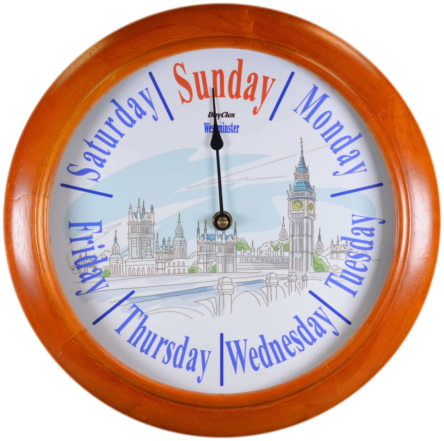 ''Westminster'' - 12'' Pie-cut Wooden Day Clock