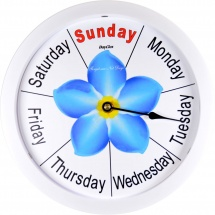 Standard Day Clock Forget-me-not White