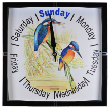 Day Clock ''Kingfisher'' - 11'' Square Glass